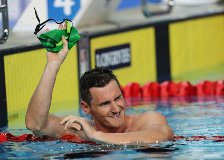 Cameron van der Burgh of South Africa after the semi final of the mens 100m breaststroke during the evening session of swimming on day 2 of the Gold Coast 2018 Commonwealth Games at Optus Aquatic Centre on April 06, 2018 in Gold Coast, Australia.