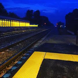 by David Plummer - Transportation Railway Tracks ( railway, blue, railroad, morningyellow, train )