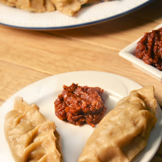 Wholewheat Soy Dim Sums with an Oil Free Chili Garlic Sauce