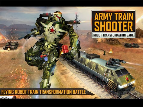 Transforming Robot Train US Army Train Shooter