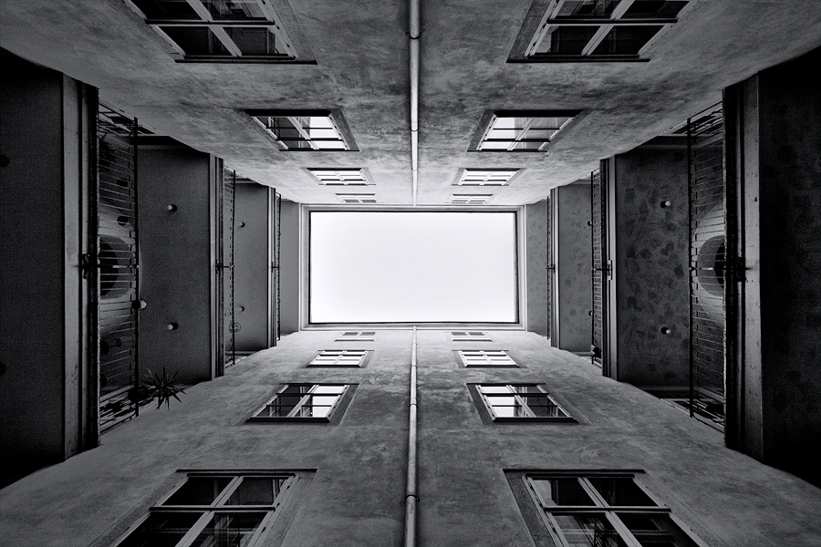 Backyard Romance by Henrik Spranz - Buildings & Architecture Architectural Detail ( vienna, building, b&w, white, architecture, backyard, pwcbuilding, depth, black )