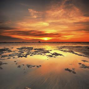 The Stone by SyaFiq Sha'Rani - Landscapes Sunsets & Sunrises ( sky, waterscape, sunset, stone, golden hour )