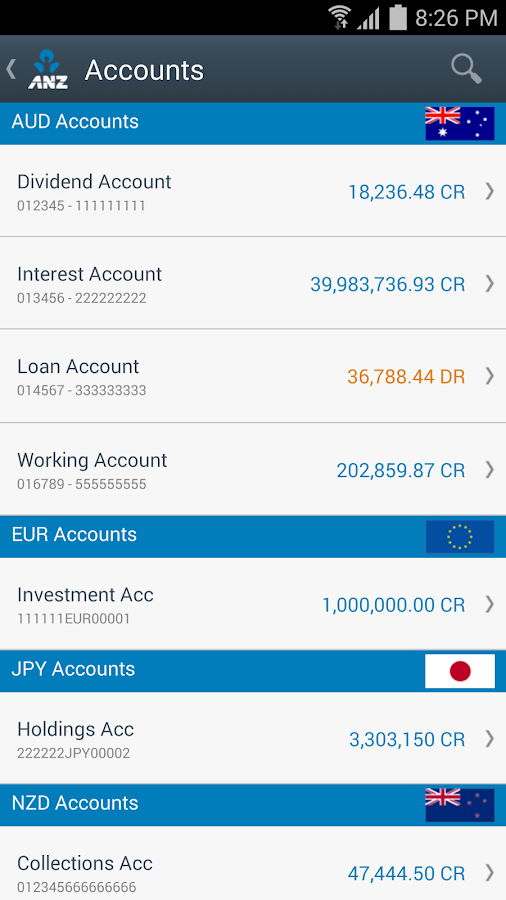 ANZ Transactive- screenshot