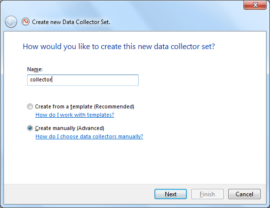 Manually create Data Collector Set