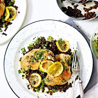Quick Roast Chicken and Lentils With Salsa Verde.