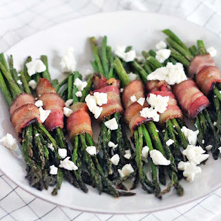 Bacon Wrapped Asparagus with Goat Cheese.