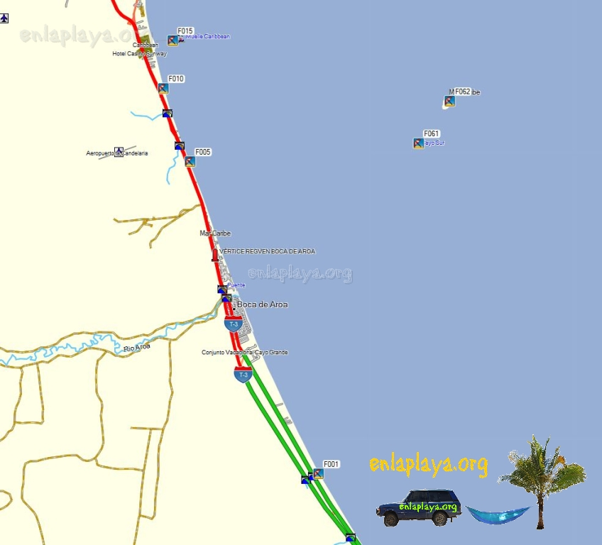 Mapa de Playas del Sector Boca de Aroa