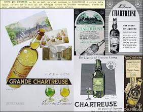 """Photo: La formule """"Reine des liqueurs"""" dans des publicités anciennes, pour la plupart des années 1950 et 60's. Et comme le dit cet autre prospectus commercial : """"La Chartreuse jaune (43°) universellement répandue, surnommée """"Reine des Liqueurs"""". Rien à ajouter à cette appelation élogieuse, mais si exacte."""" (1950)"""