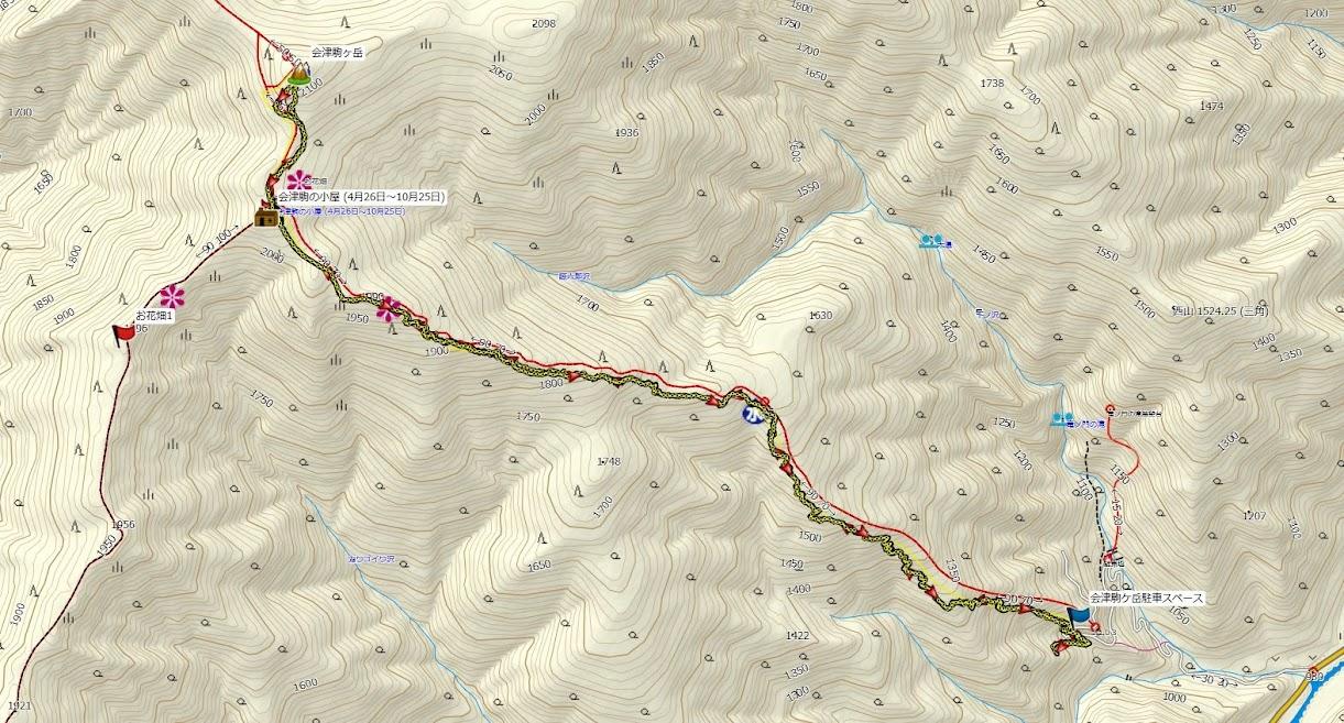 会津駒ケ岳 登山コース地図