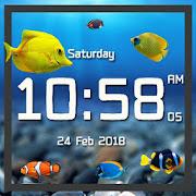 Aquarium live wallpaper with digital clock