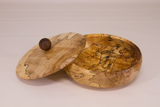 "Photo: Joe Stout 6"" x 2"" lidded bowl [spalted maple with an oil finish]"
