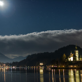 Lake Bled At Night by Aleš Mezek - City,  Street & Park  Night ( lake bled at night, lake bled island, lake bled, full moon lake bled )