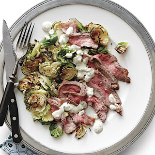 Broiled Steak & Brussels Sprouts with Blue Cheese Sauce