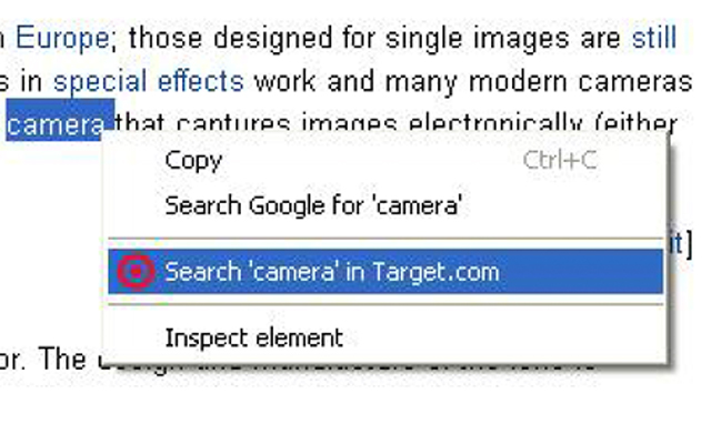 Right click search in Target