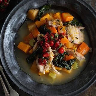 Chunky Turkey And Vegetable Soup With Warm Cranberry Gremolata.