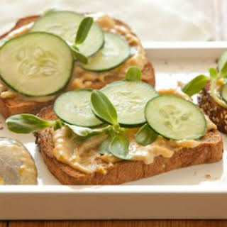 Open-Face Cucumber and Tahini Sandwiches.