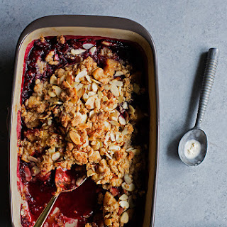 Apple + Marionberry Marzipan Crumble