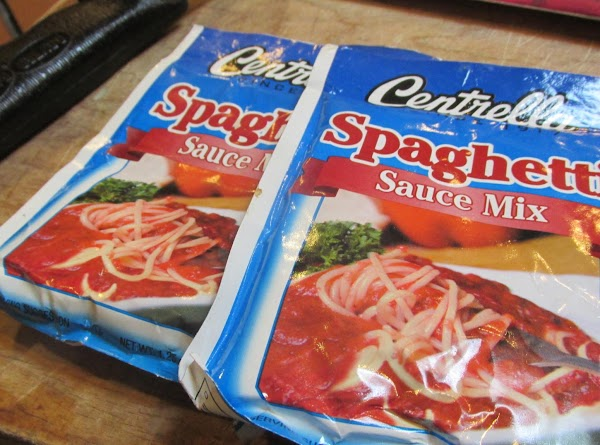 Then add the dry spaghetti sauce, and stir to blend. Cook slowly over low...