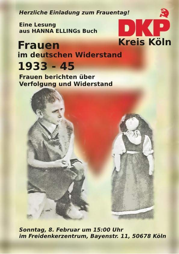 Collage. Über einem roten Winkel mit Balken hinweg blickt ein verhärmtes Mädchen und Ravensbrück-Gefangene auf eine Puppe, die ihr Mitgefangene zu Weihnachten nähten.