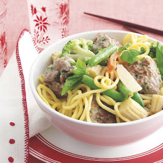 Noodle Bowl with Pork and Basil Meatballs