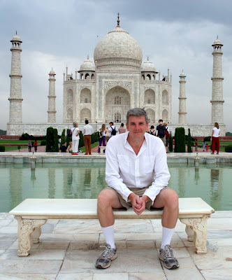 Scott on bench in front of Taj Mahal, Agra, India