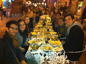 Photo: One big table with friends and Indian food in Lavapies. The usual.