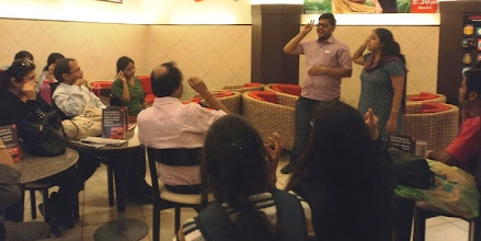 Photo: Self Advocates Rabindranath and Indira conducting a sign language workshopas a part of our 2012 World Disability Day Celebrations.