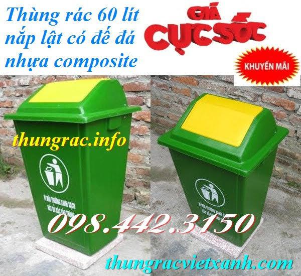 Thùng rác 60 lít nắp lật nhựa composite