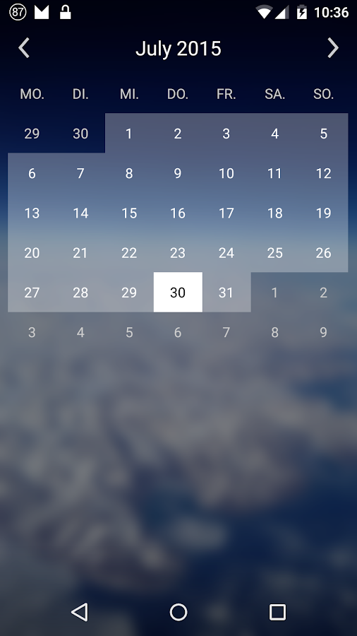 Simple Calendar Widget- screenshot