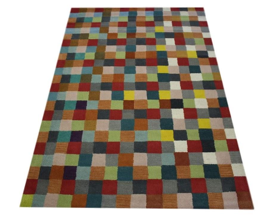 100% wełnany nowoczesny dywan z Indii ręcznie taftowany 150x240cm kolorowy
