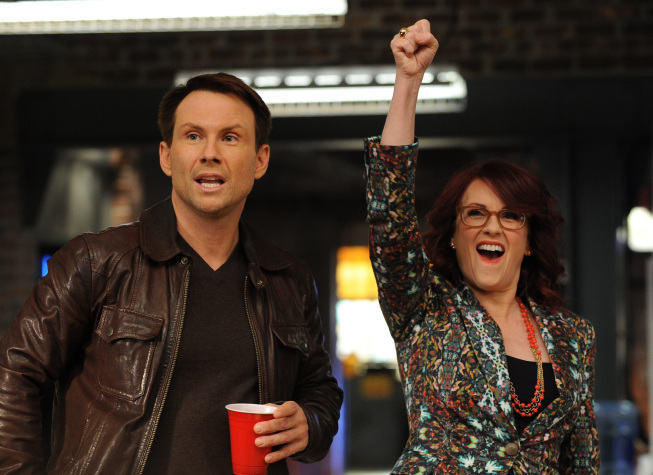 """Photo: BREAKING IN: Oz (Christian Slater, L) and Veronica (Megan Mullally, R) attend a sushi party at work in the """"Game of Jones"""" episode of BREAKING IN airing Tuesday, March 27 (9:30-10:00 PM ET/PT) on FOX. ©2012 Fox Broadcasting Co. Cr: Ray Mickshaw/FOX"""