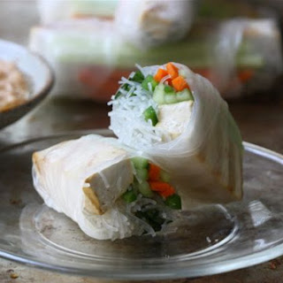 Grilled Tofu Spring Rolls with Peanut Dipping Sauce