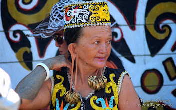 Photo: Elderly member of the Dayak tribe with traditional stretched ears, East Borneo, Indonesia