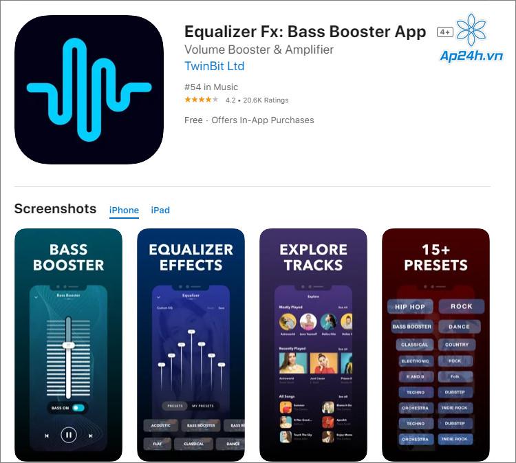 Equalizer Fx hỗ trợ chỉnh âm thanh và phát nhạc
