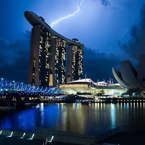 Lightning over Marina Bay Sands by Han Yi Li - Novices Only Landscapes ( lightning, double helix bridge, marina bay sands, night, art science museum, singapore, singapore river )