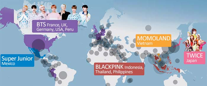 This World Map Shows Which K-Pop Groups Are The Most Popular