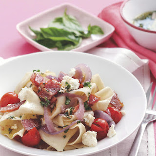 Papardelle with Roasted Tomato and Bacon.