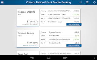 Screenshot of Citizens National Bank Mobile