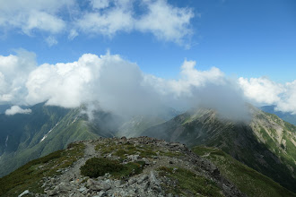 赤石岳も雲の中に