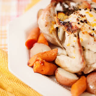 Simple Apple and Herb Dutch Oven Roasted Chicken.