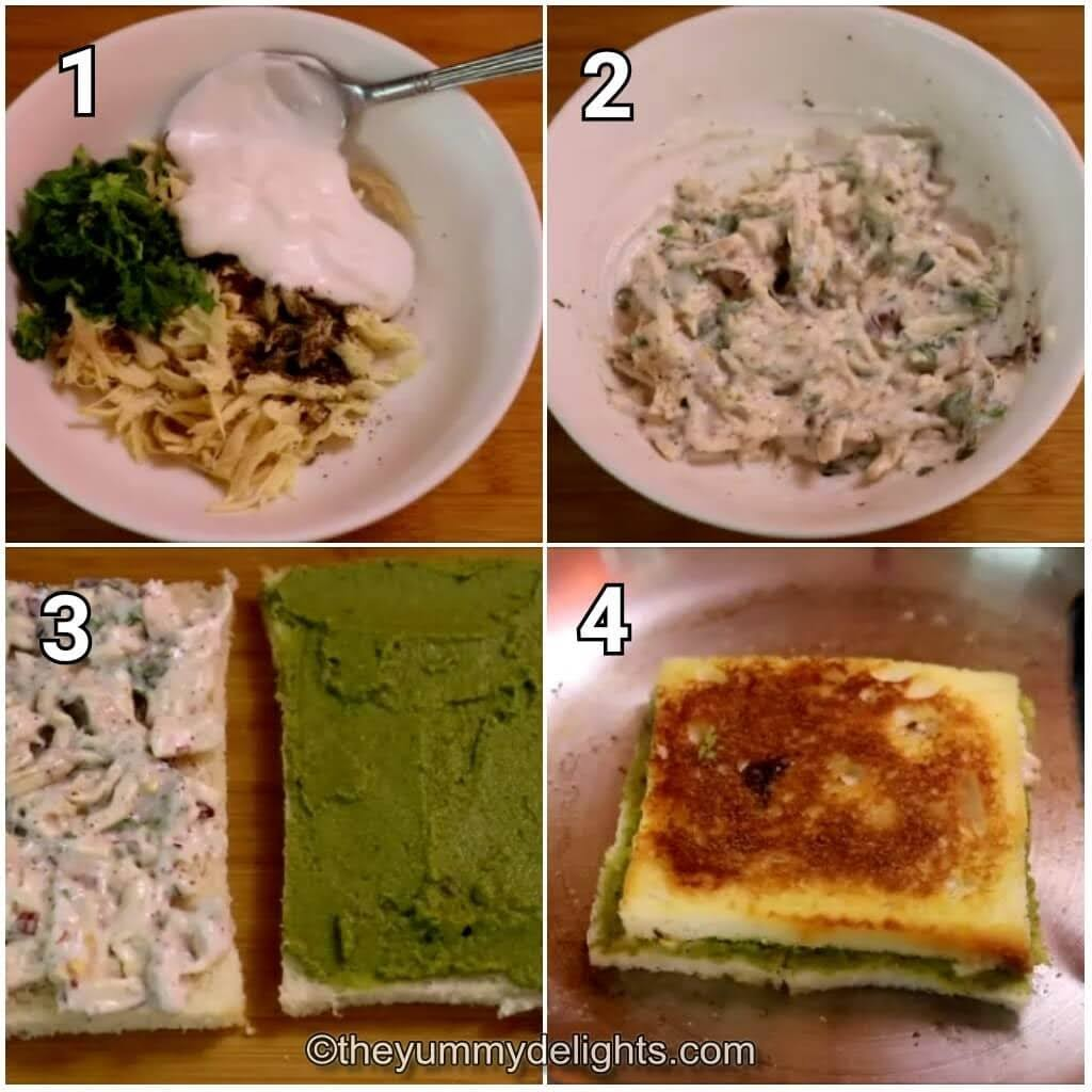 step by step image collage of making the chicken mayo sandwich