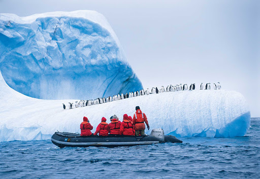 Penguins line up, single file, along the edge of the ice in Antarctica to watch travelers on a Lindblad Expeditions tour.