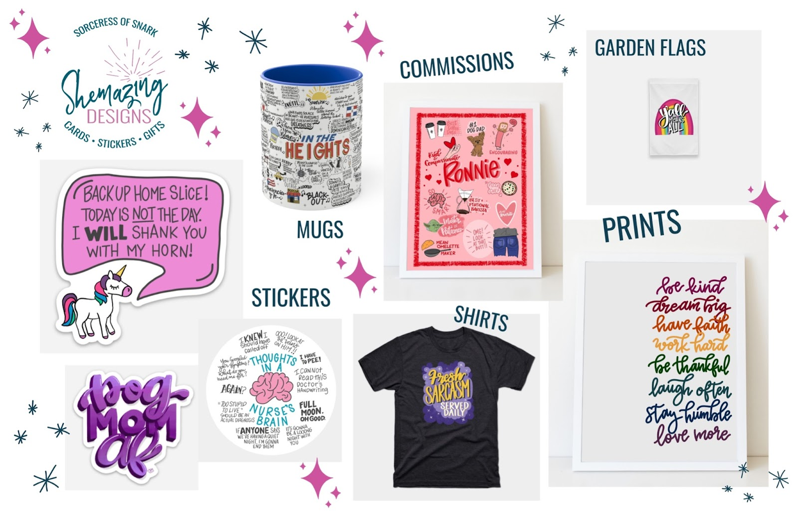 Various products and designs by Shemazing Designs