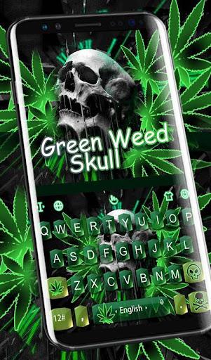 Download Green Weed Skull Keyboard Theme MOD APK 2
