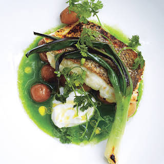 Seared Hake with Baby Potatoes and Green Sauce.