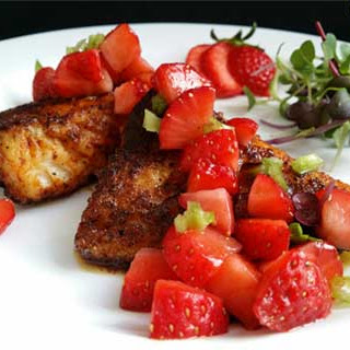 Spicy Blackened Fish and Strawberry Salsa