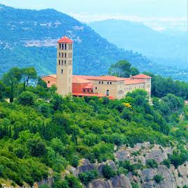Sant Benet de Montserrat by Svetlana Saenkova - Landscapes Travel ( spain, mountain, sant benet de montserrat, castle, green hill,  )