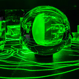 Green Laser by Duane Vosika - Abstract Light Painting ( lens ball, mirror, color, light, light trails, long exposure, abstract )