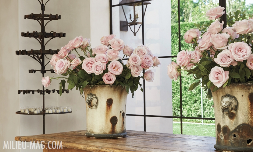 Light pink roses in antique planters on rustic wood table. Design by Pamela Pierce.