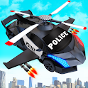Flying Police Helicopter Car Transform Robot Games icon